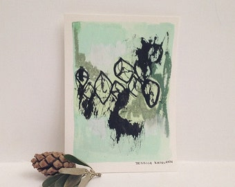 Light green 4x5 1/2 inch abstract mixed media painting