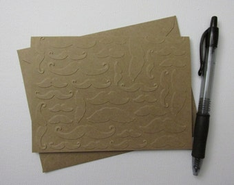 """Multitude o' Mustaches - One Dozen (12) 4""""x5.5"""" Kraft Paper Greeting Cards"""