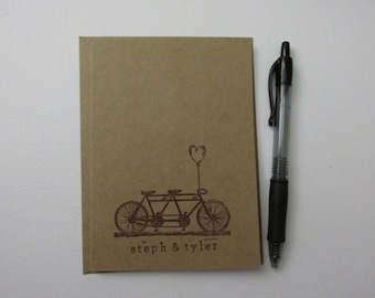 """Bicycle Built for Two - One Dozen (12) Custom 4""""x5.5"""" Kraft Paper Greeting Cards"""