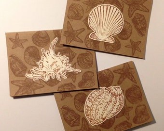 """By the Seaside - One Dozen (12) Handstamped 4""""x5.5"""" Kraft Paper Greeting Cards"""
