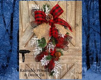 Buffalo Plaid Swag, Christmas Wreath for Front Door, Rustic Christmas Decor, Winter Wreaths, Buffalo Check Decorations, Farmhouse, Burlap