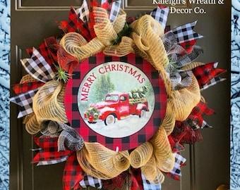 Christmas Wreath for Front Door, Buffalo Plaid Decorations, Burlap Christmas Wreath, Christmas Truck Wreaths, Rustic Christmas Decor, Winter