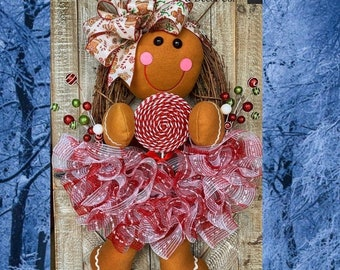 Christmas Wreath for Front Door, Christmas Decorations, Gingerbread Girl Wreath, Christmas Grapevine Wreaths, Ginger Bread Decorations, Home