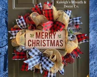 Buffalo Plaid Christmas Wreath, Buffalo Check Christmas Wreath, Farmhouse Christmas Decor, Rustic Holiday Decorations, Wreath For Christmas