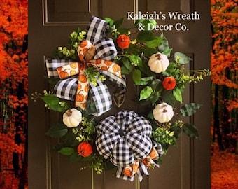 Buffalo Check Wreath for Front Door, Orange and White Pumpkin Wreaths, Rustic Fall Decor, Halloween Wreath, Autumn Farmhouse Door Wreath