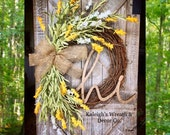 MONOGRAM Wreath, Rustic Wreath, Wreaths, Everyday Wreath, Fall Front Door, Gift Ideas, Housewarming Gift, Summer, Spring, Year Round Decor