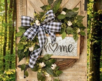 Everyday Wreath, Front Door Wreath with Cotton, Buffalo Check Decor, Farmhouse Wreaths, Year Round, Gifts for Her, Greenery, Buffalo Plaid