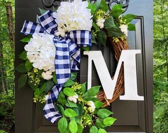 Monogram Wreath, Buffalo Check Wreath, Year Round Wreath, Every Day Wreath, Hydrangea Wreaths, Front Door Wreath, Spring Wreath, Decor