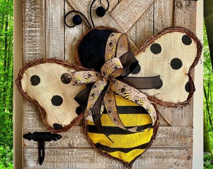 Featured listing image: BEE WREATH for Front Door, Spring Door Wreath, Bee Home Decor, Easter Wreath, Front Door Wreath, Summer Wreath, Farmhouse Burlap Wreaths