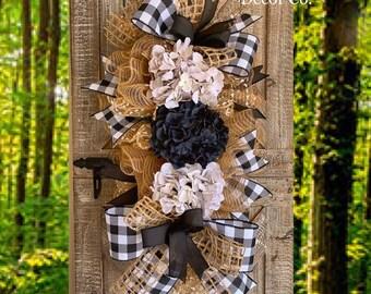 Buffalo Check Wreath, Burlap Wreath, Hydrangea Wreath for Front Door, Door Wreath, Cotton Swag, Buffalo Check Decor, Farmhouse Wreath, Door