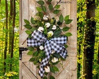 Buffalo Check Wreath, Year Round Wreath, Every Day Wreath, Buffalo Plaid Wreath, Front Door Wreath, Every Day Swag, Farmhouse, Rustic