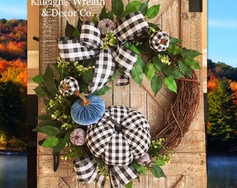 Blue Fall Decor, Buffalo Plaid Fall Wreath, Fall Leaves Wreath, Buffalo Check Fall Decor, Outdoor Fall Decor, Autumn Wreath for Front Door