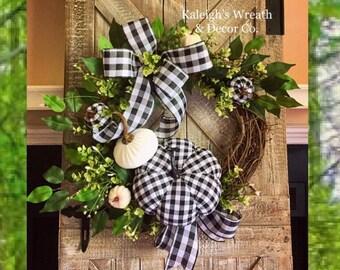 Fall Buffalo Check Wreath, Black and White Wreath, Fall Wreaths for Front Door, Fall Wreath, Halloween Wreath, Pumpkin Wreath, Buffalo Plaid