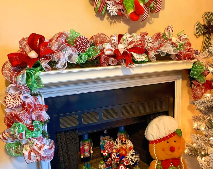Featured listing image: Garland Christmas Mantle, Garland for Staircase, Christmas Decorations, Fireplace Garland, Garland for Front Door, Candy Decor
