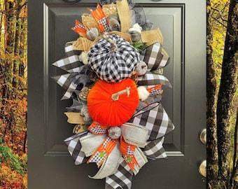 XL Fall Buffalo check Wreath, Fall Pumpkin Decor, Autumn Wreaths, Buffalo Check Pumpkins, Farmhouse Fall Wreath for Front Door, Burlap