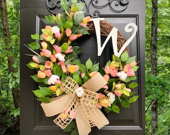 Summer Tulip Wreath, Tulip Front Door Wreath, Cotton Wreath, Gift Ideas, Monogram Wreath, Farmhouse Home Decor, Grapevine, Everyday Wreath