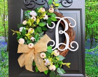 FARMHOUSE Fall Wreath, Fall Wreath for Front Door, Fall Wreaths, Pumpkin Wreath, Autumn Wreath, Front Door Wreaths, Pumpkin Decor, Cotton