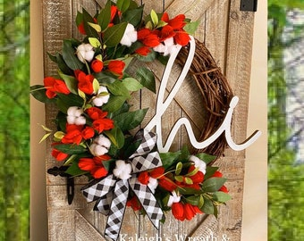 Spring Wreath for Front Door, Buffalo Check Decor, Cotton Front Door Wreath, Tulip Wreath for Front Door, Mothers Day, Patriotic Farmhouse