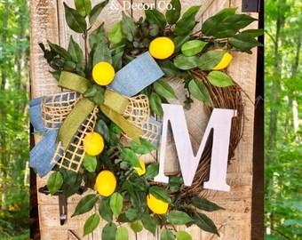 Lemon Wreath, Lemon Decor, Fruit Wreath, Everyday Wreath, Yellow Lemon Wreath, Year Round Wreath, Farmhouse Wreath, Summer Door, Kitchen