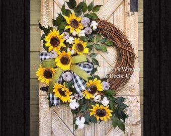 fall wreaths for front door, buffalo check wreaths, buffalo plaid wreath, fall wreaths, fall wreath with pumpkins, autumn wreaths, sunflower