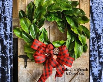 CHRISTMAS Wreath, Rustic Christmas Decor, Winter Decorations, Christmas Grapevine Wreaths, Magnolia Wreath, Buffalo Plaid, Buffalo Check