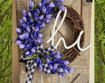Spring black and white Buffalo Check Wreath, Door Wreath, Tulip Wreath, Easter Decor, Spring Grapevine Wreath, Hi Wreath, Spring Front Door