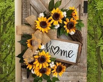 Sunflower Wreath, Sunflower Front Door Wreath, Cotton Wreath, Flower Wreath, Front Porch Wreath, Summer Wreath, Spring Wreath, Year Round