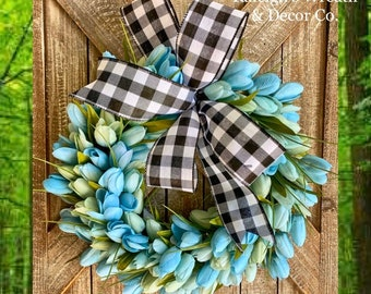 Beach Wreath, Beach Decor, Everyday Wreaths, Spring Wreaths, Front Door Wreaths, Blue Tulip Wreath, Tulip Wreath for Front Door, Gift ideas