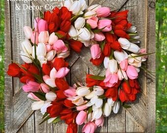 Spring Wreath for Front Door, Tulip Wreath for Front Door, Burlap Bow Wreath, Easter Decor, Easter Wreath, Spring Decor, Farmhouse Wreath