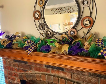 Mardi Gras Garland, Mardi Gras Decor, Mardi Gras Swag, Door Garland, Mantle Garland, Decorations, Party Decorations, Wreath, Masks, Purple