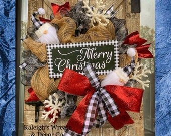 Gnome Christmas Wreath, Buffalo Check Christmas Wreath for Front Door, Buffalo Plaid Holiday Decorations, Gmome Christmas Decor, Wreaths