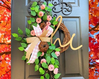 Pink & Leopard Wreath, Pink Fall Wreath, Leopard Autumn Decor, Breast Cancer Awareness Wreath, Wreath for Front Door, Fall Grapevine, Home
