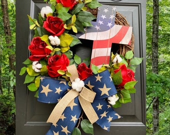Memorial Day Wreath, Red White Blue Wreath, 4th of July Wreath, Independence Day Decor, Patriotic Wreath, Cross Wreath, Summer Front Door