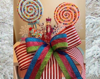 Christmas Tree Topper, Nutcracker Christmas Decorations, Christmas Candy Decor, Pink and Blue Christmas Decor, Nutcracker Wreath, Tree Bow