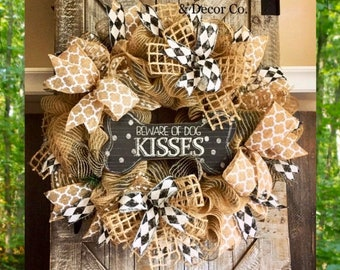 Dog Wreaths for Front Door, Paw Print Wreath, Pet Wreath, Beware of Dog Kisses, Dog Wreaths, Animal Wreath, Burlap Wreaths, Everyday Wreaths