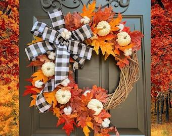 FALL Wreaths, Pumpkin Wreath, Thanksgiving Wreath, Black White Buffalo Check, Buffalo Plaid Wreath, Fall Decor, White Pumpkin Wreath, Rustic