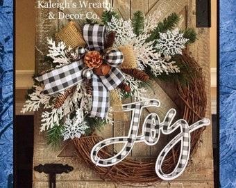 Christmas Wreaths, Etsy Christmas Decor, Farmhouse Christmas Wreath, Rustic Christmas Wreath, Everyday Wreath, Buffalo plaid Decorations