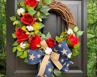 Farmhouse Patriotic Wreath, Patriotic Decor, Patriotic Wreaths for Front Door, Wreath with Roses, Cotton Wreath, American Flag Decor, Gift