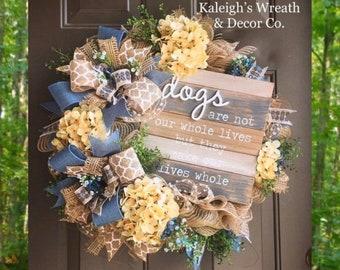 Everyday Wreath, Farmhouse Wreath, Dog Wreath, Pet Wreath, Burlap Wreath, Hydrangea Wreath, Fall Wreath, Animal Wreath, Year Round Wreath