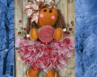Christmas Wreath, Gingerbread Wreath, Ginger Bread Decorations, Holiday Decor, Christmas Door Wreaths, Christmas Candy Wreath, Winter Wreath