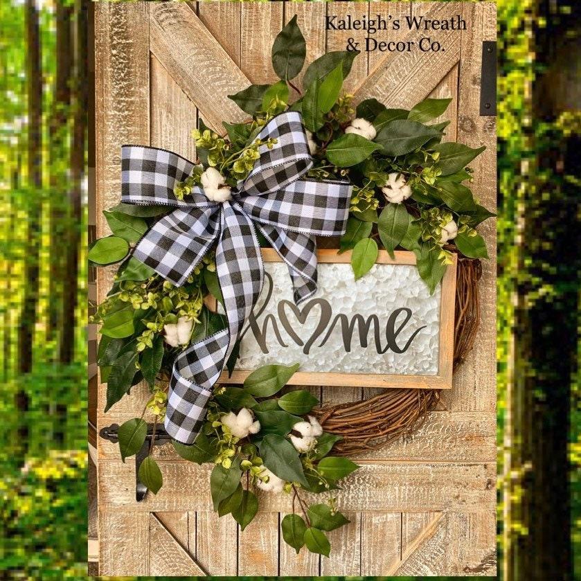 small plaid wreath stewart dress tartan rag wreath rustic farmhouse decor year round wreath plaid farmhouse wreath small window wreath