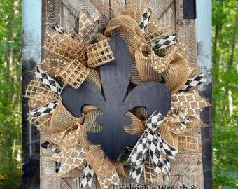 Fleur De Lis Wreath, Fleur De Lis Decorations, Everyday Wreath, Home Decor, Burlap Black Wreaths, Front Door Wreaths, New Orleans, Rustic