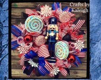 Nutcracker christmas wreath, nutcracker wreath, christmas candy wreath, police wreath, candy wreath, nutcracker decoration, back the blue