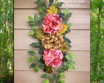 Hydrangea Swag, Country Fall Wreath, Year Round Wreath, Rustic Wreaths, Wreath, Housewarming Gift, Gift Ideas, Gifts for Her, Christmas Gift