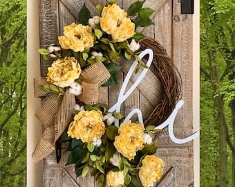 Farmhouse Wreath, Everyday wreath for Front Door, Spring Wreath, Rustic Home Decor, Cotton Wreath, Front Door Wreath, Monogram Wreath