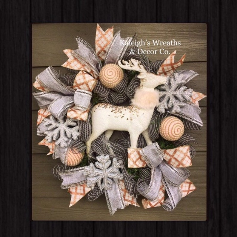 Non Christmas Winter Wreaths.Rustic Deer Wreath Winter Decorations Front Door Wreaths Snowflake Decor Reindeer Decorations Christmas Home Decor Deco Mesh Gray
