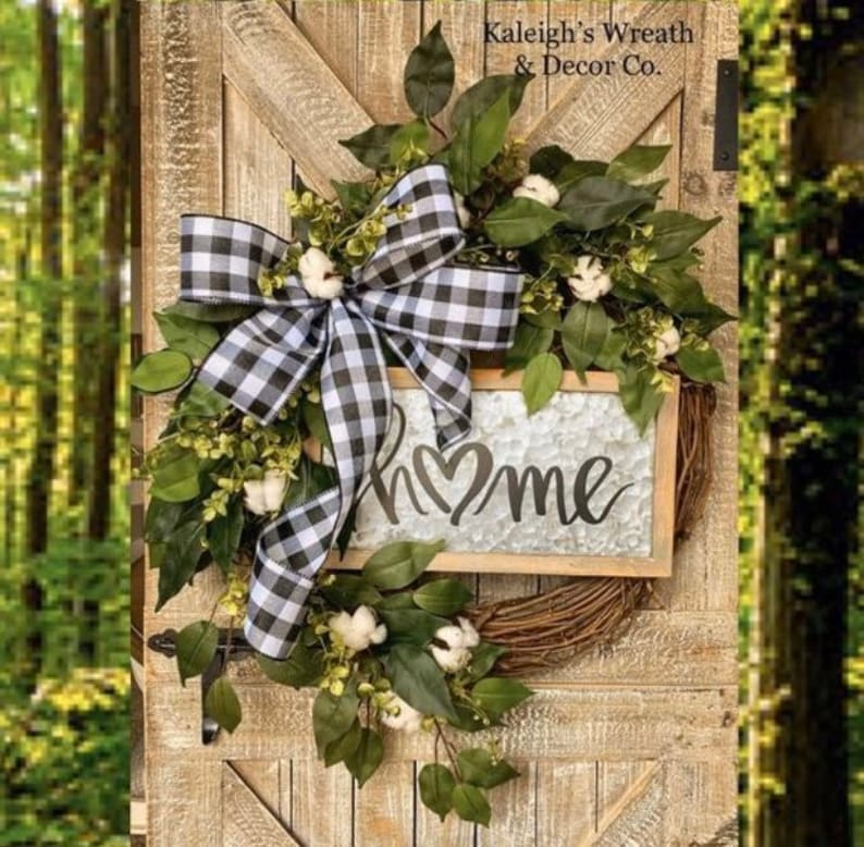 Everyday Wreath Front Door Wreath with Cotton Buffalo Check image 0