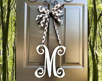 Monogram door hanger, Initial door hanger, Buffalo Check Decor, Buffalo Check Wreath, Everyday Wreath, Gift for Her, Wedding Gift, Home