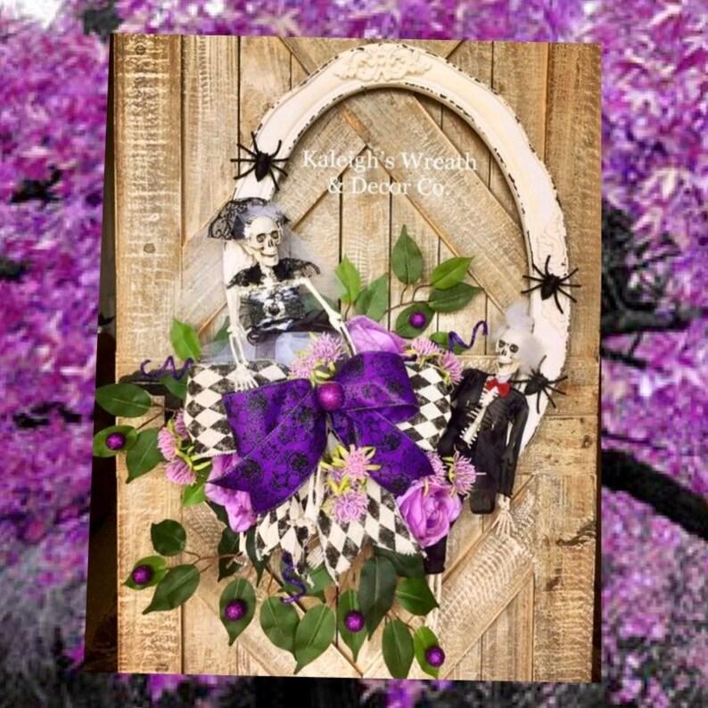 Halloween wreath for front door skeleton wreath halloween image 0