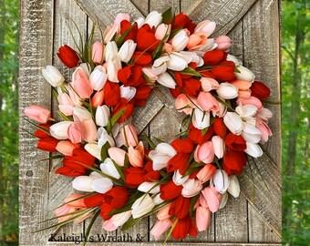 Wreath for Front Door, Tulip Wreath, Tulip Wreaths for Door, Spring Wreath, Housewarming Gift, Wedding Gift, Summer Wreath, Home Decor